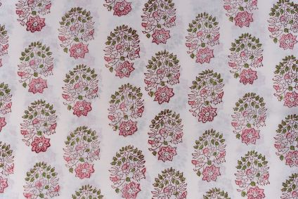 Shadow Pink Floral Block Printed Cotton Fabric