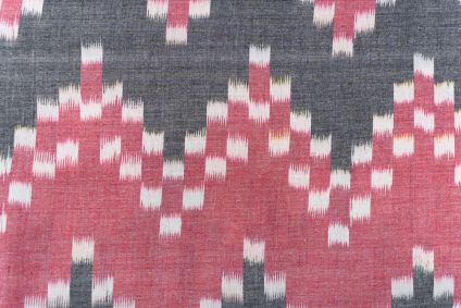 Red Grey Ikat Upholstery Cotton Fabric