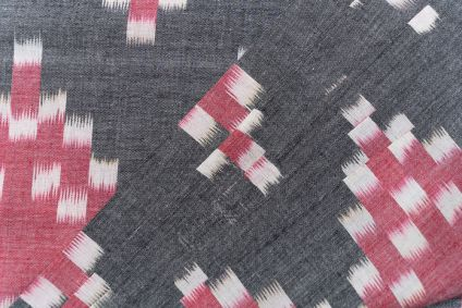 RED GREY IKAT UPHOLSTERY COTTON FABRIC-HF5069