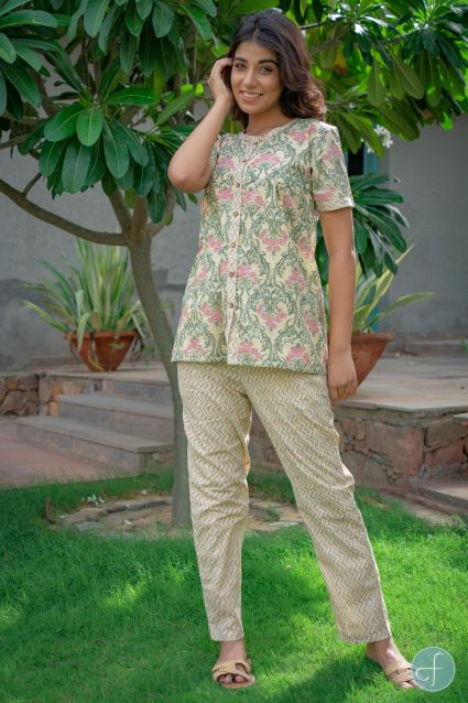 DUSKY YELLOW FLORAL BLOCK PRINTED NIGHT SUIT-NS111