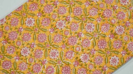 YELLOW AND PINK FLORAL BLOCK PRINT COTTON FABRIC-HF3582