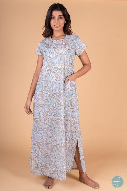 Blue Grey Block Print Feeding Gown