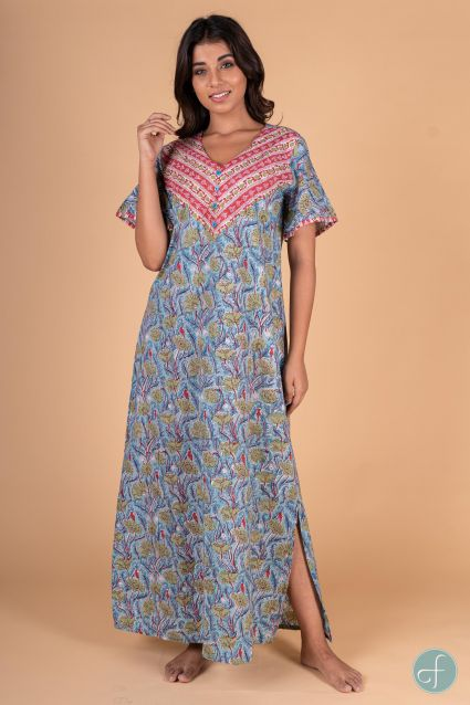 Blue Red Floral Block Print Night Gown