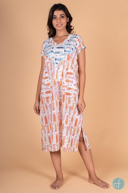 Fish Block Print Short Sleeves Night Gown