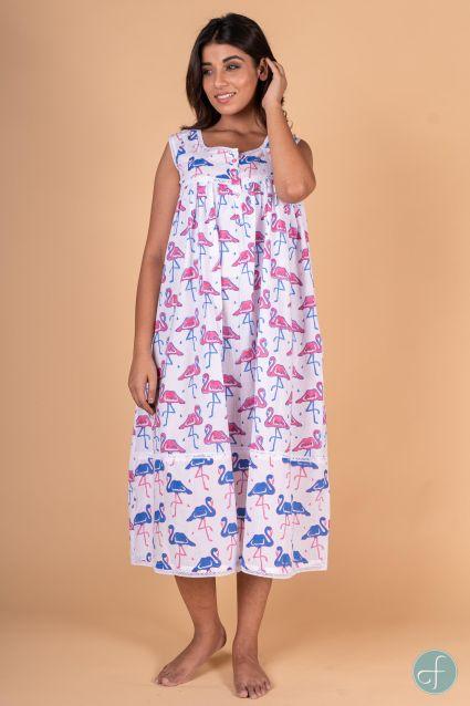 Flamingo Block Print Sleeveless Night Gown