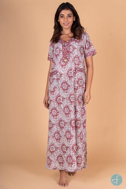 Maroon Floral Block Print Night Gown