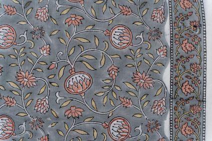 Slate Grey Floral Bordered Block Printed Fabric