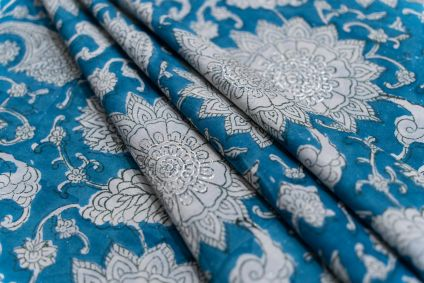 BREEZE BLUE FLORAL HAND BLOCK PRINTED COTTON FABRIC-HF5112