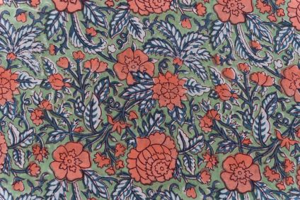 Zypher Green Floral Hand Block Printed Cotton Fabric