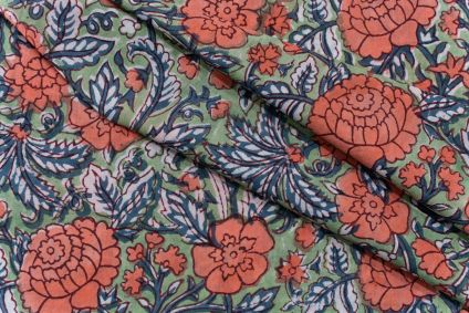 FLORAL HAND BLOCK PRINTED COTTON FABRIC-HF5113