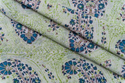 PARADISE GREEN PAISLEY HAND BLOCK PRINTED COTTON FABRIC-HF5111