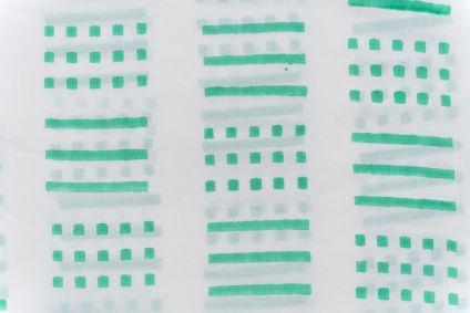Florida Green Geometric Block Printed Fabric