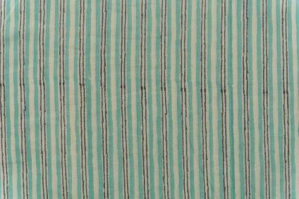 Spring Green Striped Block Printed Fabric