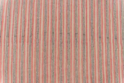 Apricot Blush Striped Block Printed Fabric