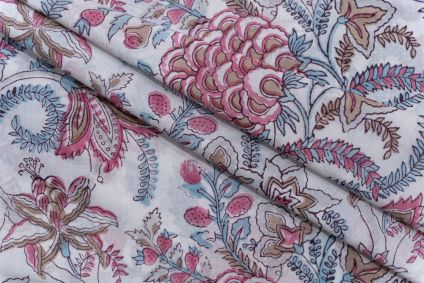 WHITE FLORAL HAND BLOCK PRINTED COTTON FABRIC-HF5091