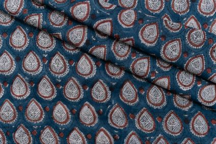 BISCAY BLUE HAND BLOCK PRINTED COTTON FABRIC-HF5096