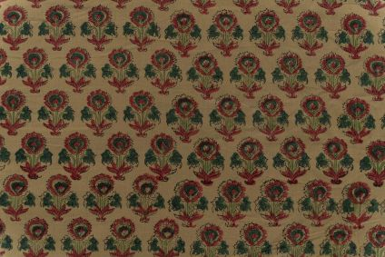 Olive Green Floral Hand Block Printed Cotton Fabric