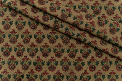 OLIVE GREEN FLORAL HAND BLOCK PRINTED COTTON FABRIC-HF5106