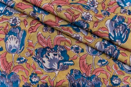 YELLOW GOLD FLORAL HAND BLOCK PRINTED COTTON FABRIC-HF5108