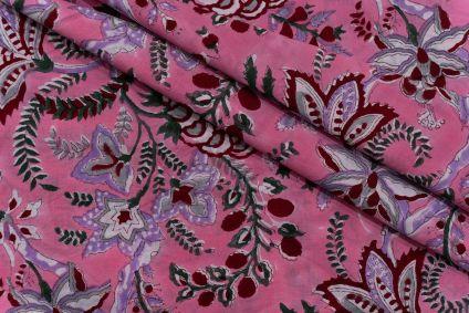AZALEA PINK FLORAL HAND BLOCK PRINTED COTTON FABRIC-HF5109