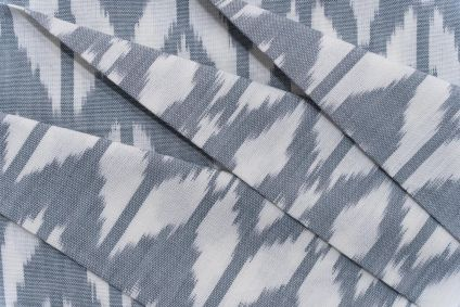 GREY AND WHITE UPHOLSTERY IKAT COTTON FABRIC-HF5146