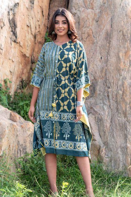 TEAL GREEN DESIGNER BLOCK PRINT KAFTAN DRESS-NVK230