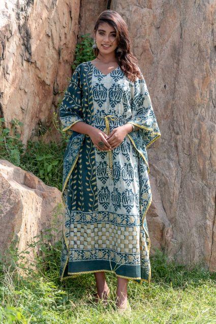 Natural Dye Designer Cotton Kaftan