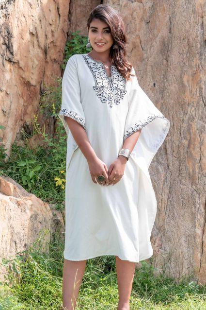 BLACK WHITE EMBROIDERED KHARI COTTON KAFTAN DRESS-NVK237