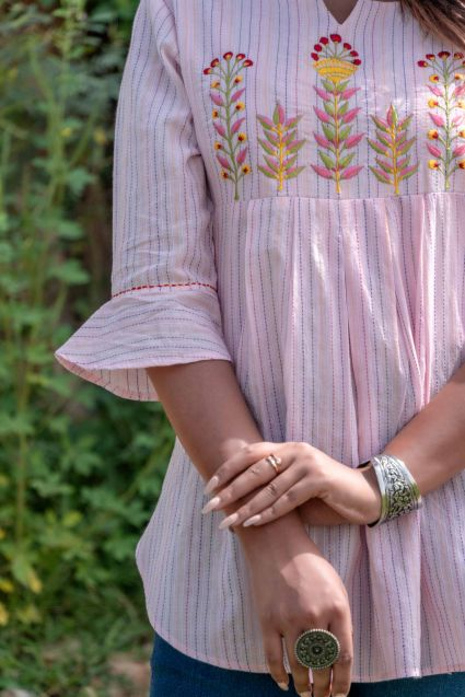 Pink Embroidered Cotton Kantha Top
