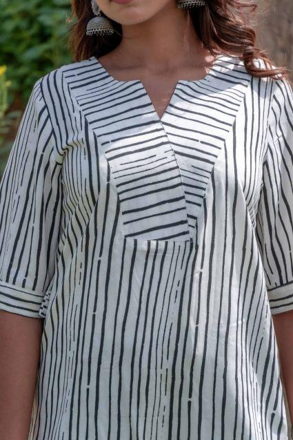 Striped Organic Lotus Fabric Top