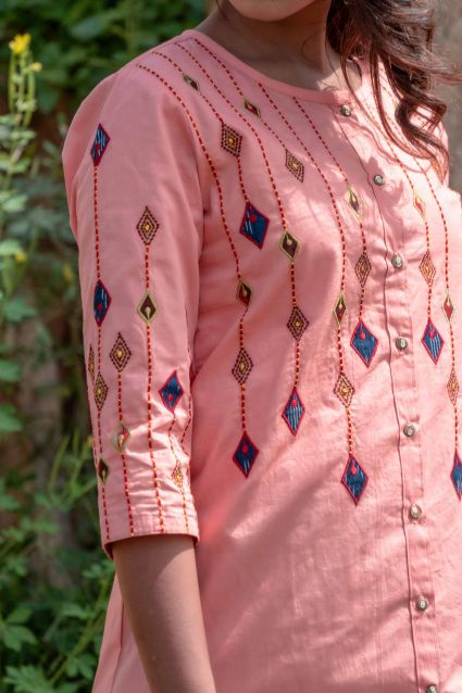 Peach Embroidered Top