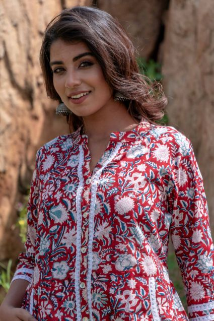 Red Floral Block Print Lace Top