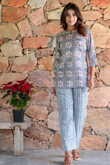 Blue Green Floral Block Printed Night Suit