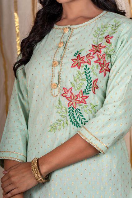 Green Embroidered Kurta Dupatta Lehenga Set