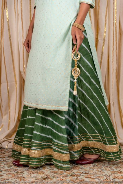 Pistachio Green Embroidered Lehenga Set