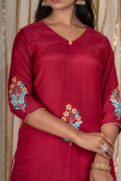 Scarlet Maroon Embroidered Kurta Pant Set
