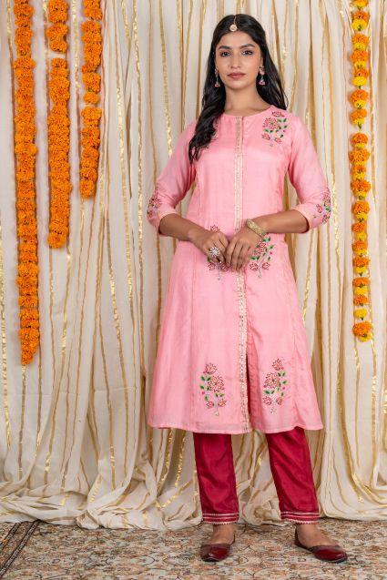 Pink Embroidered Muslin Silk A Line Kurta Pant Set