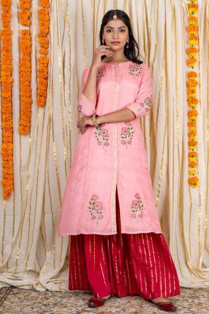 Pink Embroidered Muslin Silk Kurta Sharara Set