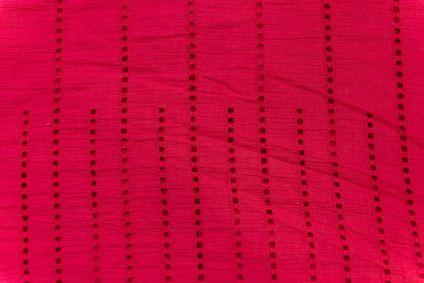 Carnation Pink Chikankari Embroidered Fabric