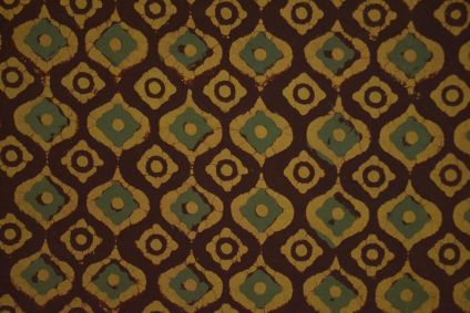 Mustard Brown And Green Ajrakh Hand Block Print Cotton Fabric