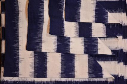 NAVY BLUE AND WHITE DESIGNER DOUBLE IKAT FABRIC-HF1295