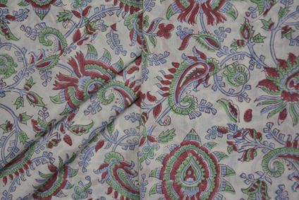 GREEN AND RED FLORAL HAND BLOCK PRINTED MULMUL/VOIL COTTON FABRIC -HF4497