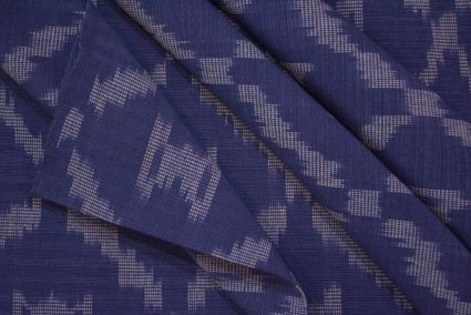 BLUE AND WHITE IKAT UPHOLSTERY COTTON FABRIC-UF36