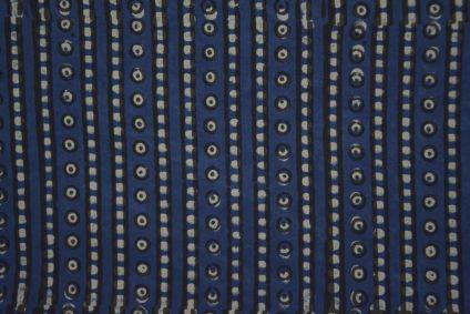 Geometrical Indigo Block Print Cotton Fabric