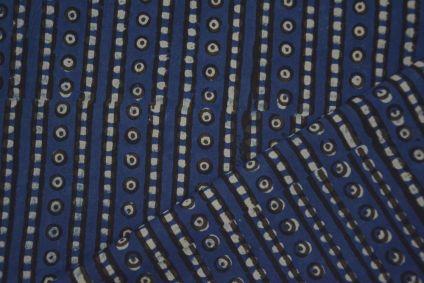 GEOMETRICAL INDIGO BLOCK PRINT COTTON FABRIC-4631