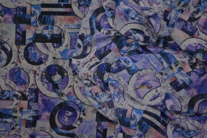 Purple And Blue Digital Print Crepe Fabric