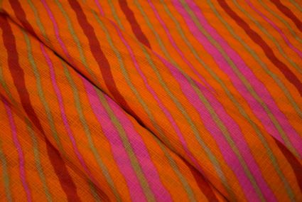 Yellow Striped Kota Doria Fabric