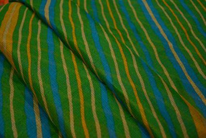Green Striped Kota Doria Fabric