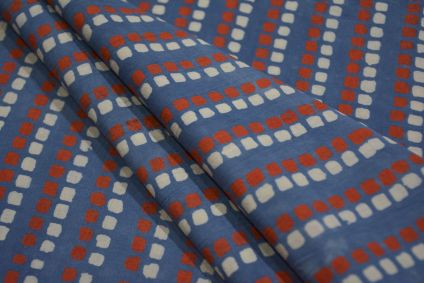 BLUE AND RED SQUARE COTTON PRINTED FABRIC -HF4573