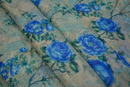 BLUE FLORAL KOTA DORIA FABRIC-HF2721